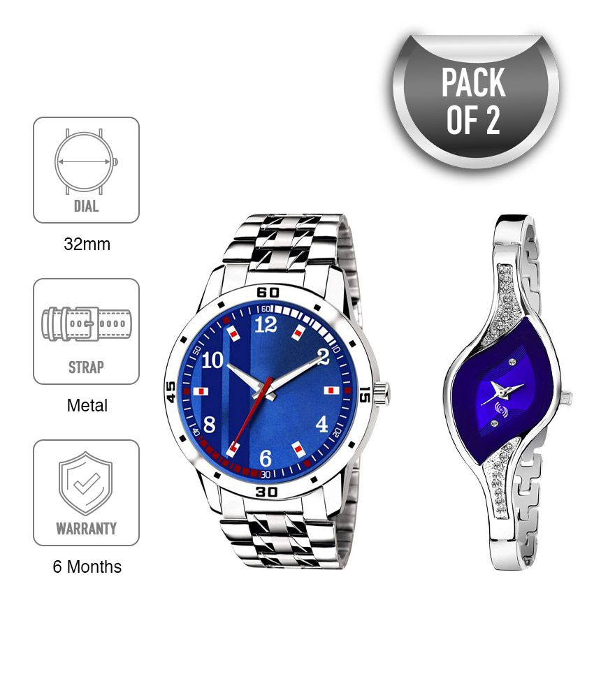 Stylish New Year Steel Unique Combinication Couple Combo ST-0200 Watches For Girls And Boys