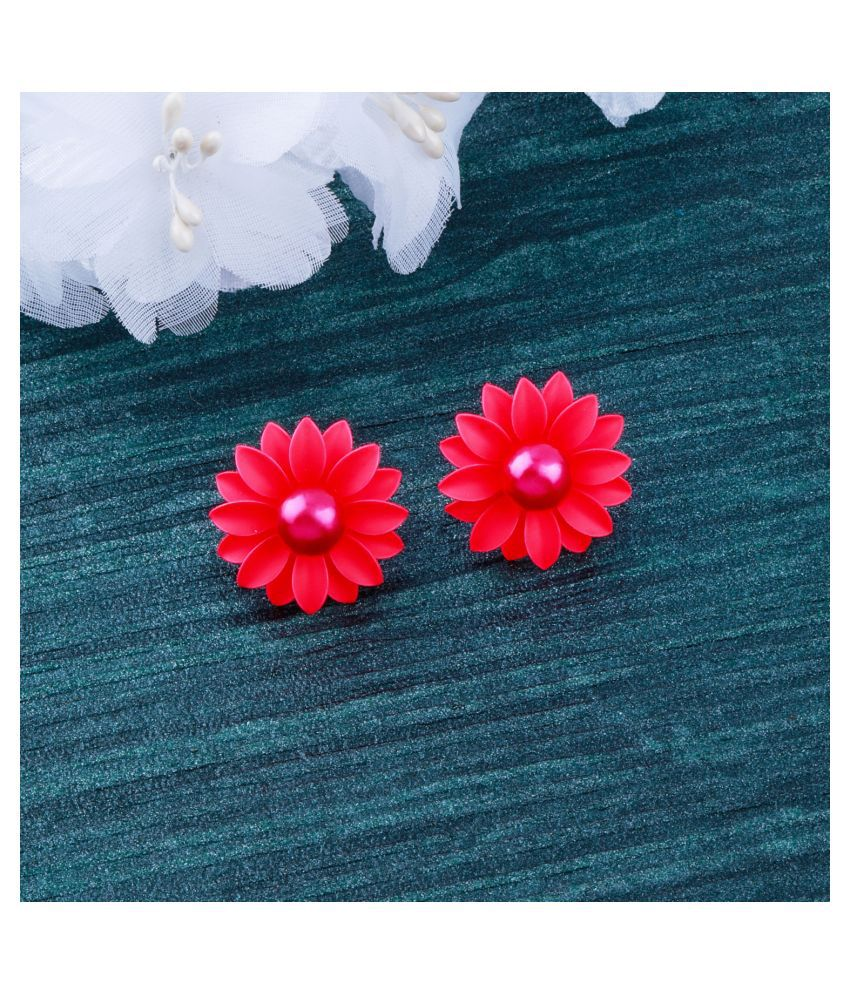 Superb Pink Beautifully Created Floral Design Stud Earring For Girls And Women