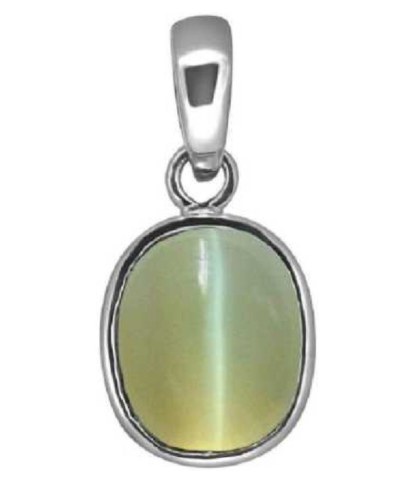 7 Ratti Cats Eye Pendent   with Sterling SilverFor Men & Women… Sterling Silver Cat's Eye  Pendant by Kundli Gems