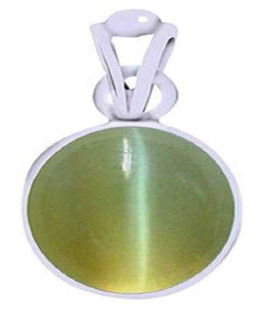 7 ratti Cats eye Stone Pendant Natural Cats Eye stone Certified & Astrological purpose for men & women Silver Cat's Eye Stone Pendant by Kundli Gems