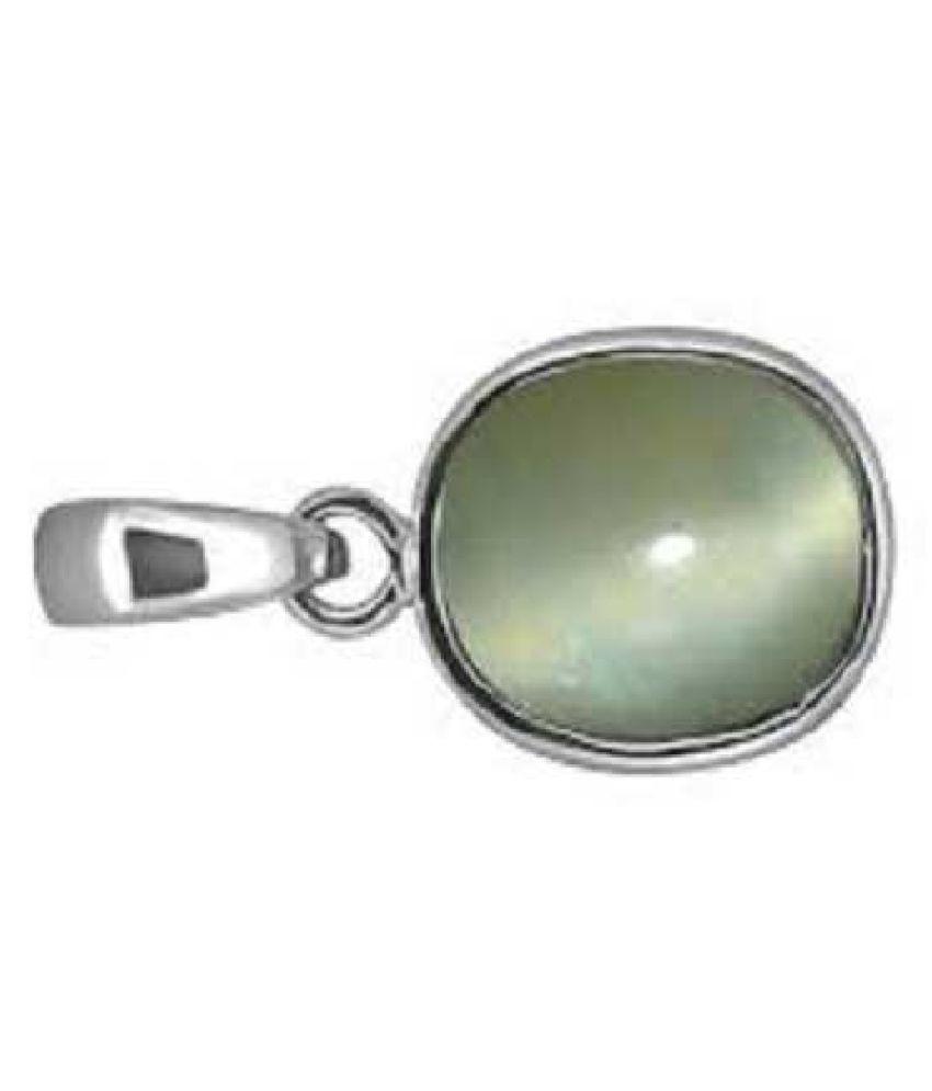 9.25 ratti ashth dhaAtu Sterling Silverfor Men & Women  Cat's Eye Metal Pendant by Kundli Gems