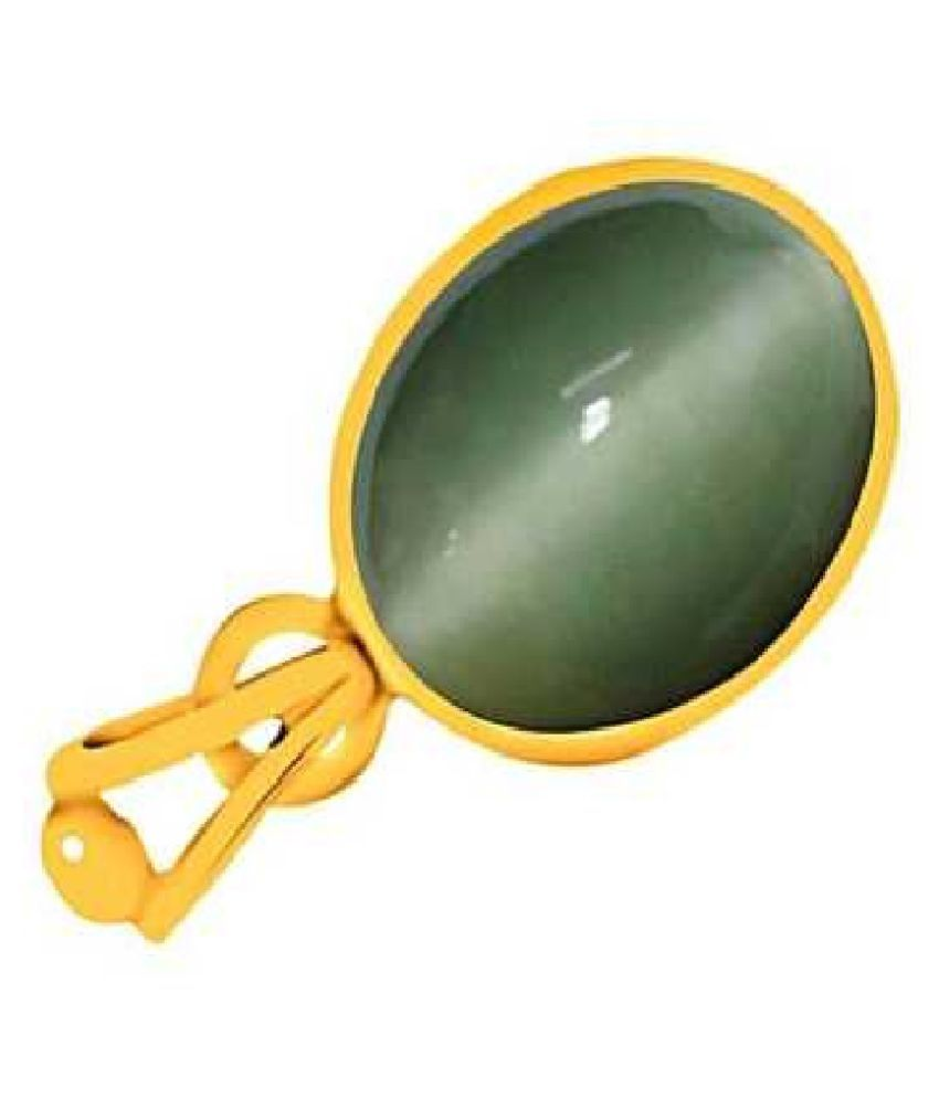 Kundli Gems - 7.25 carat Cats eye Stone Pendant Natural Cats Eye stone Certified & Astrological purpose for men & women Gold-plated Cat's Eye Stone Pendant