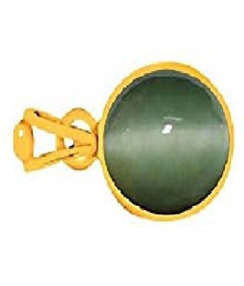 Kundli Gems - Cats eye 6.5 carat Stone Pendant Natural Cats Eye stone Certified & Astrological purpose for men & women Gold-plated Cat's Eye Stone Pendant