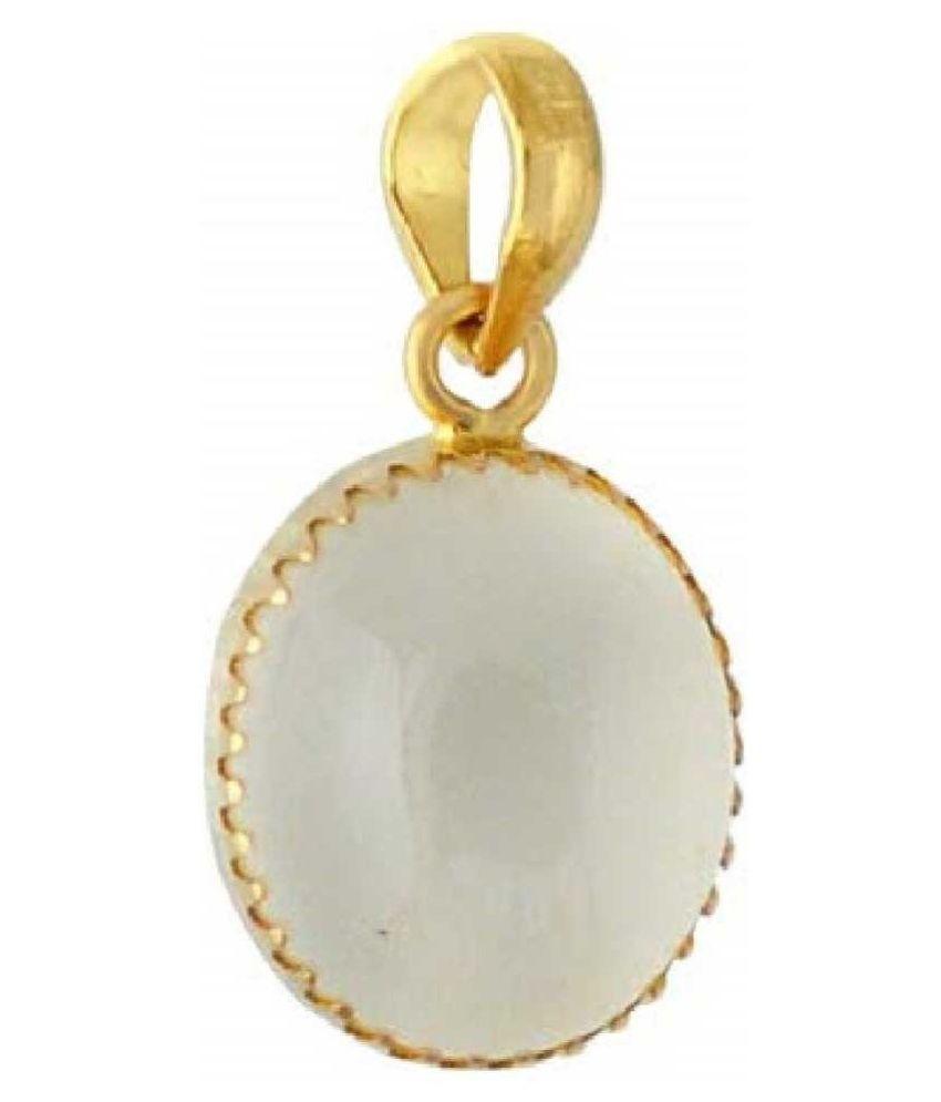 2.5 Carat 100 Original Certified Stone MOONSTONE Gold Plated Pendant By Kundli Gems