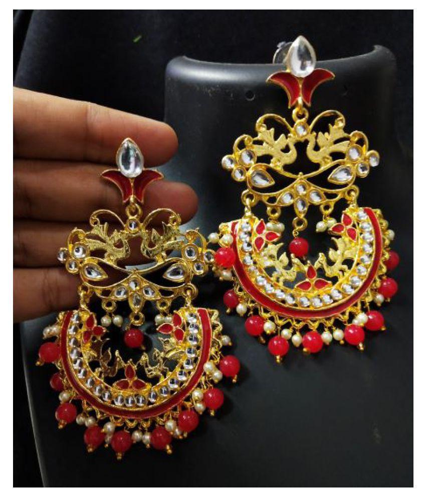 Bridal Red Chandbali Ethnic Indian Bollywood Kundan Pearl Earrings Set