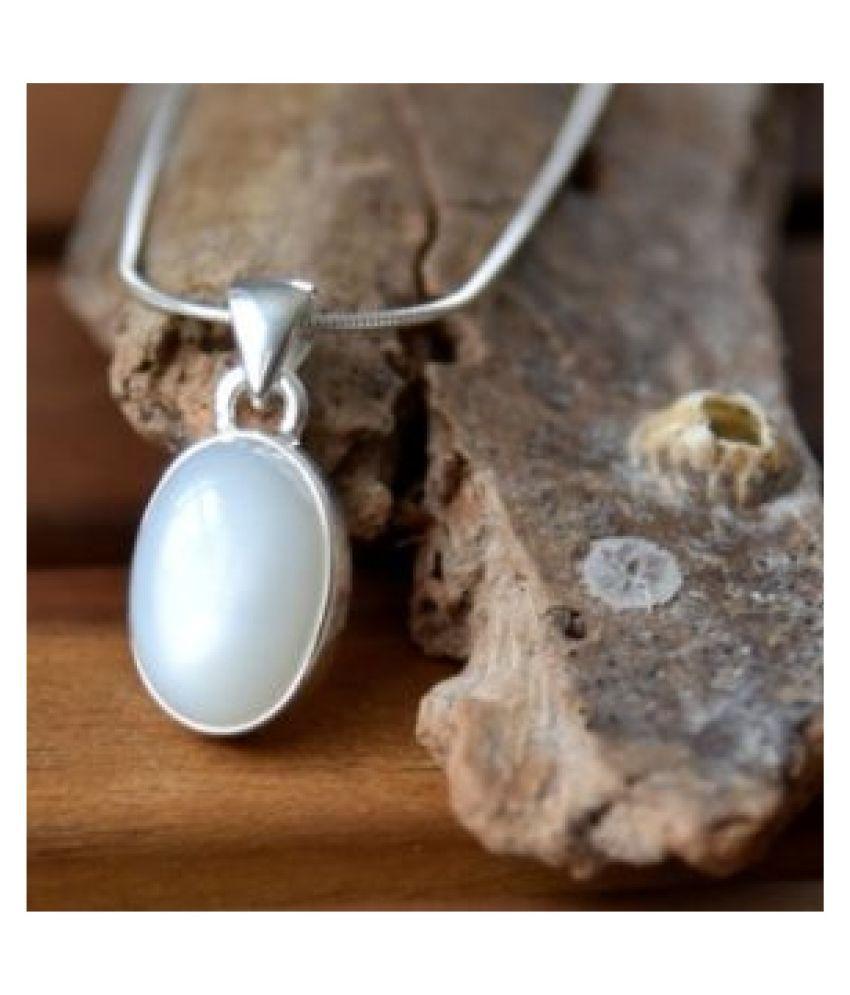 MOONSTONE Pendant 5.5 Carat natural and Gemstone silver Pendant by Kundli Gems