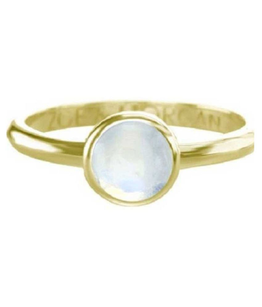 MOONSTONE RIng natural and MOONSTONE Gemstone 12 Carat gold plated Ring by Kundli Gems
