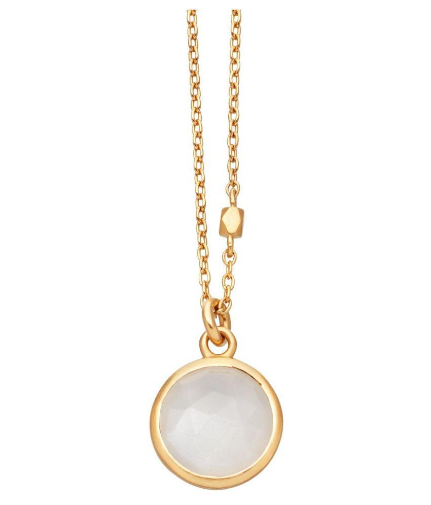 100 % Natural MOONSTONE Gemstone Stone 6.25 Carat Gold Plated Pendant by Kundli Gems