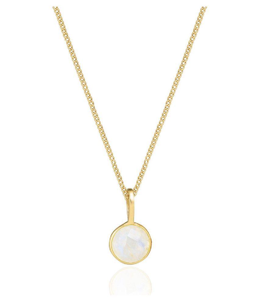 100 % Original Certified Stone 8.5 Carat MOONSTONE Gold Plated Pendant By Kundli Gems