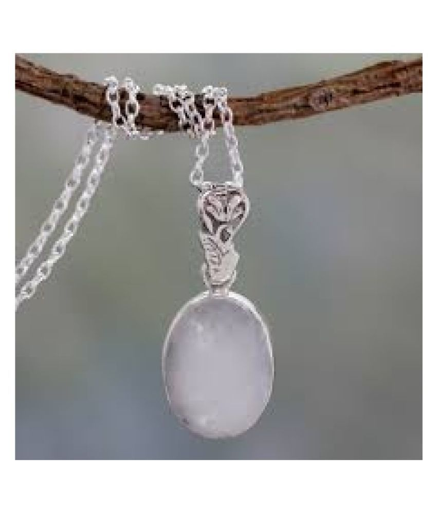 8.5 Ratti MOONSTONE  Pendant With Natural  silver Pendant by Kundli Gems