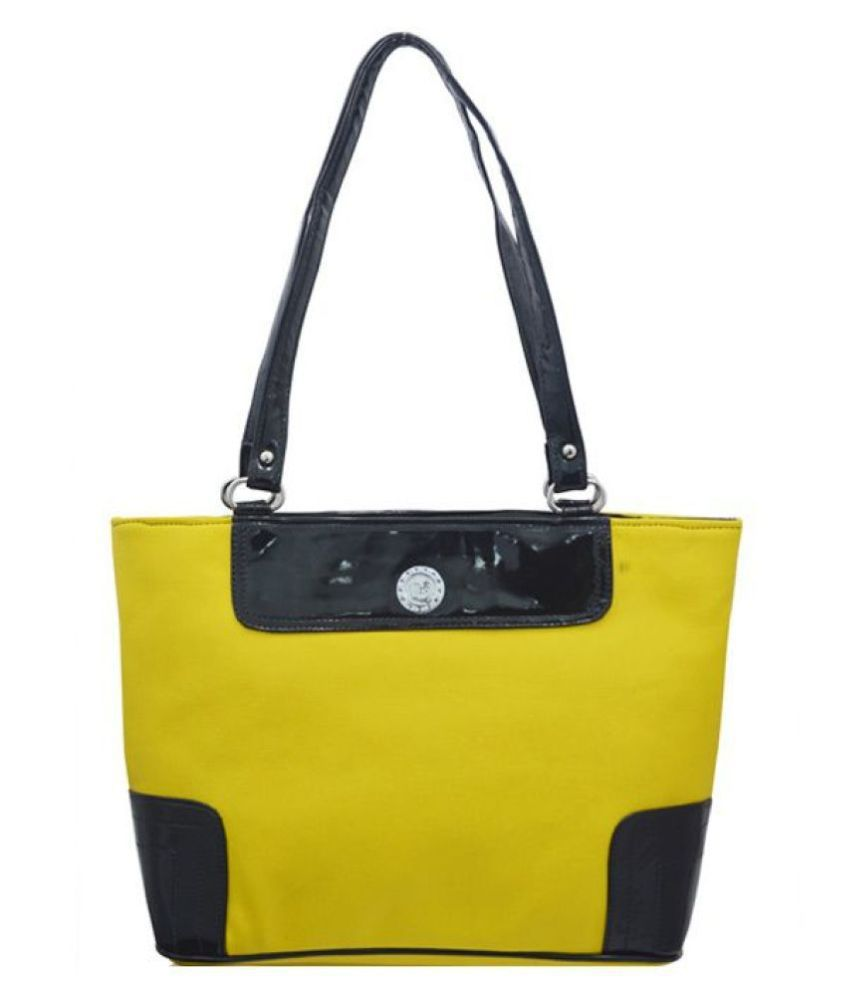 LADY QUEEN Yellow Faux Leather Shoulder Bag