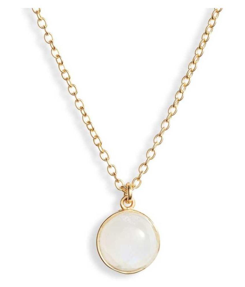 Natural & Unheated Stone MOONSTONE Stone 7.5 Ratti Gold Plated Pendant by Kundli Gems