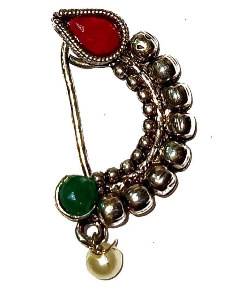 New Latest design oxidised  Maharashtrian  Alloy silver  Nath By shrungarika
