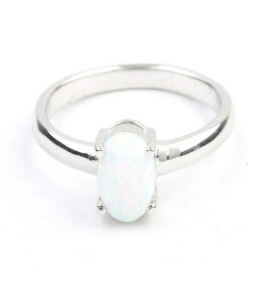 3.25 ratti stone pure OPAL  Silver Ring for unisex by  Kundli Gems\n