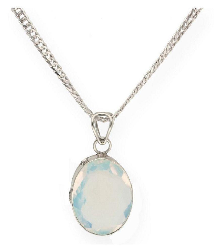 5.25 Ratti Lab Certified Stone 100% Original MOONSTONE  silver Pendant for unisex by  Ratan Bazaar\n