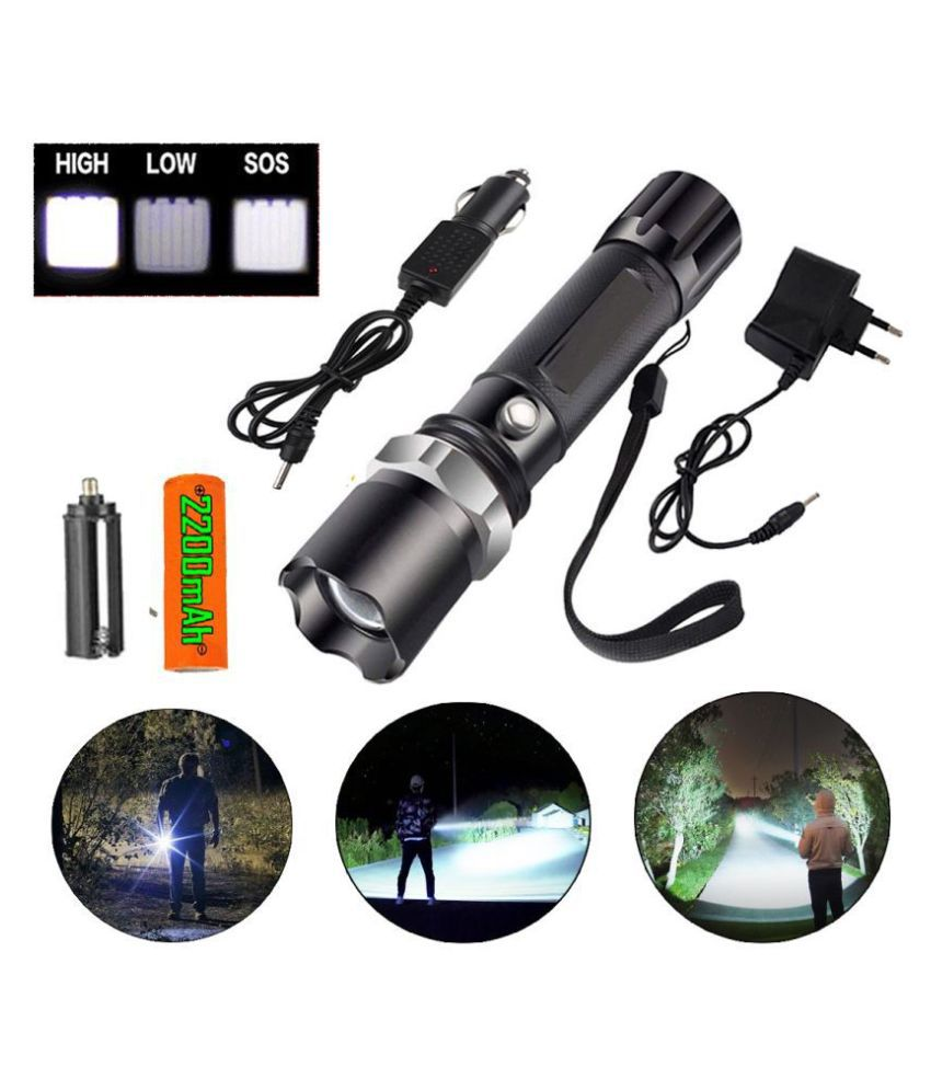 MS Zoomabel 3 modes 600 meter long Rang Rechargeable Flashlight Torch 9W Flashlight Torch Police SWAT - Pack of 1