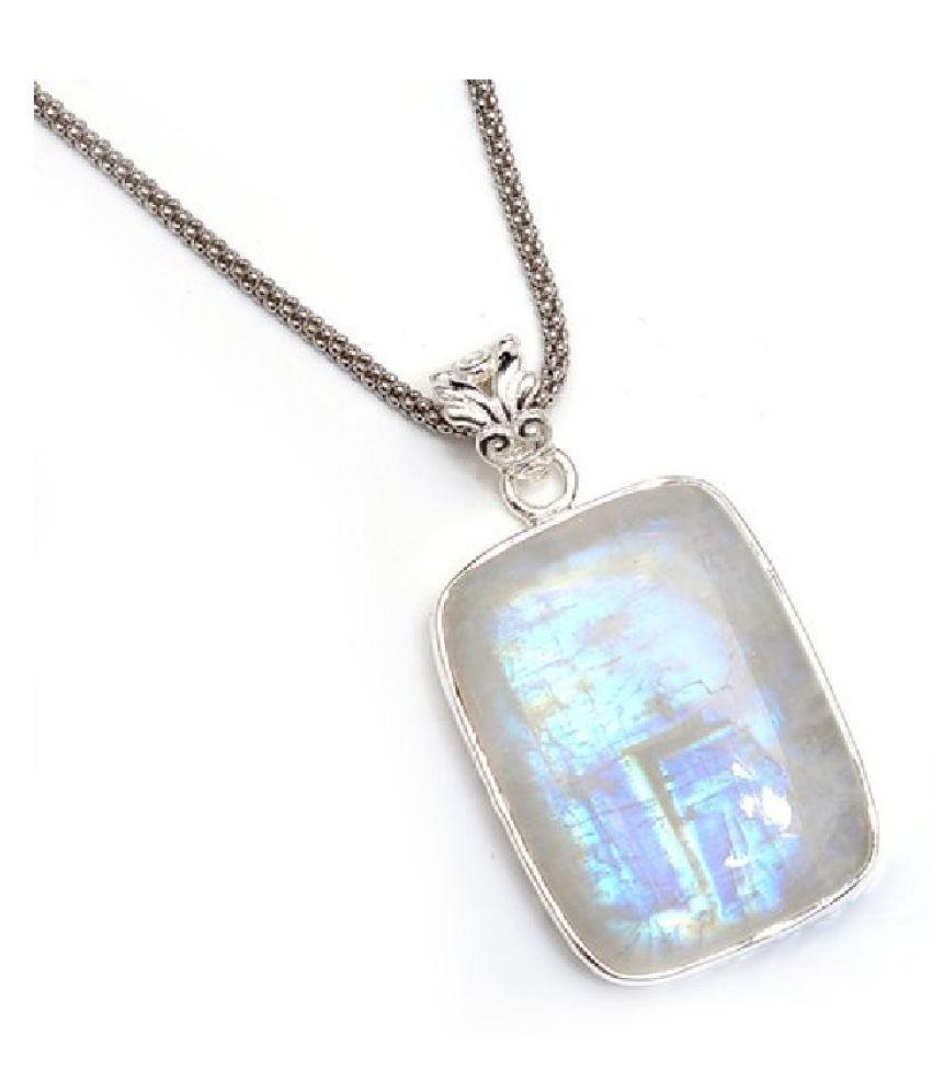Natural MOONSTONE Stone 4.5 Ratti 100 % Certified silver Pendant By  Ratan Bazaar