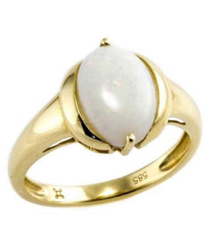 Original Certified Stone 3.5 Carat OPAL Gold Plated Ring By Kundli Gems