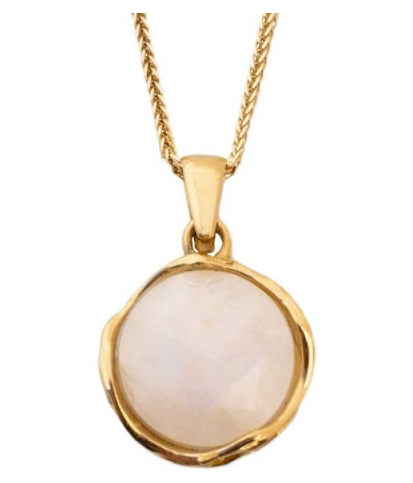 10 ratti Natural  MOONSTONE  Stone  panchdhatu Gold Plated Pendant for Astrological MOONSTONE  Pendant