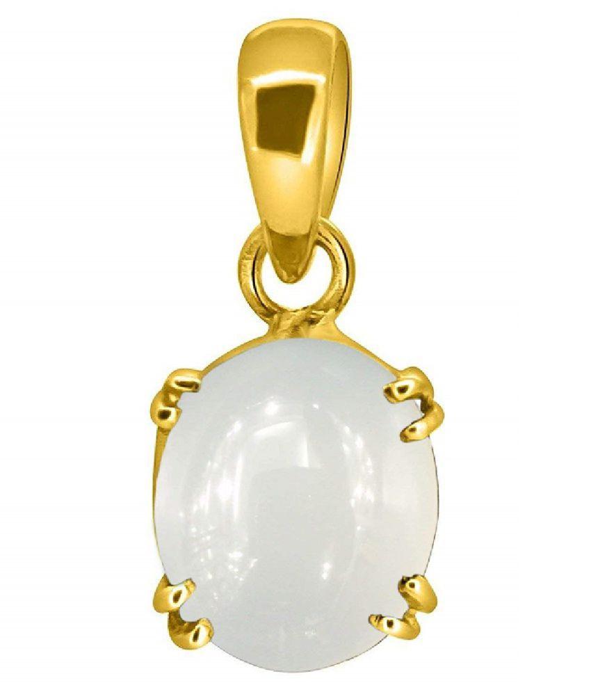 MOONSTONE Pendant Natural Unheated Stone 7 Carat gold plated Pendant For Astrological PurposeBy  Ratan Bazaar