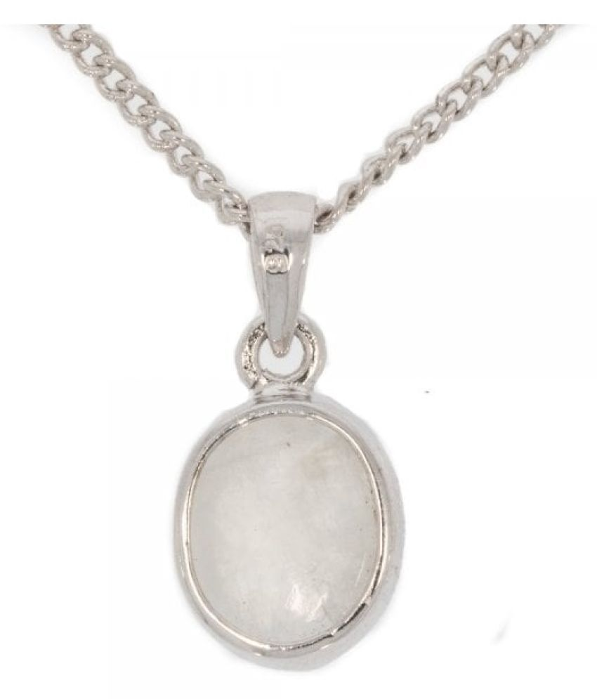 MOONSTONE  silver Pendant WITH NATURAL AND CERTIFIED 8.5 RATTI By  Ratan Bazaar