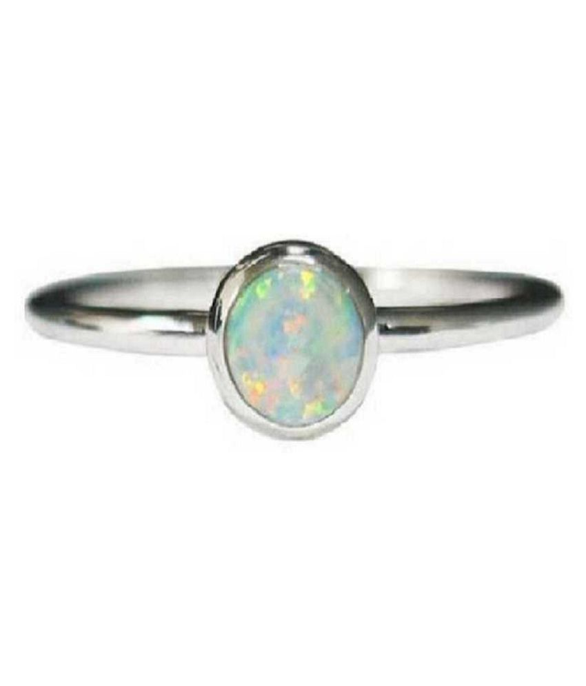 3.5 ratti stone pure OPAL  silver Ring for unisex by Kundli Gems\n