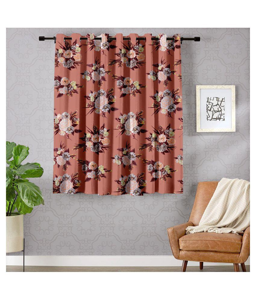 Hometique Single Window Semi-Transparent Eyelet Polyester Curtains Peach