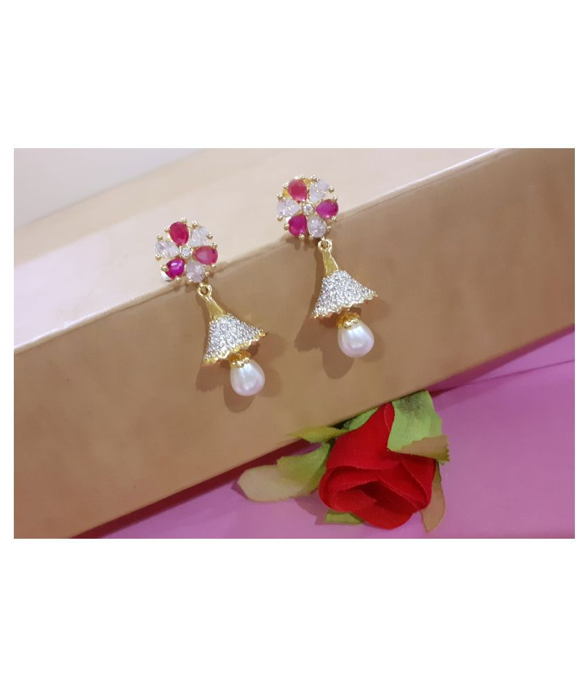 Mrigangi American Diamond Party Wear Designer Jhumki Earring for Women and Girls Alloy Drops & Danglers