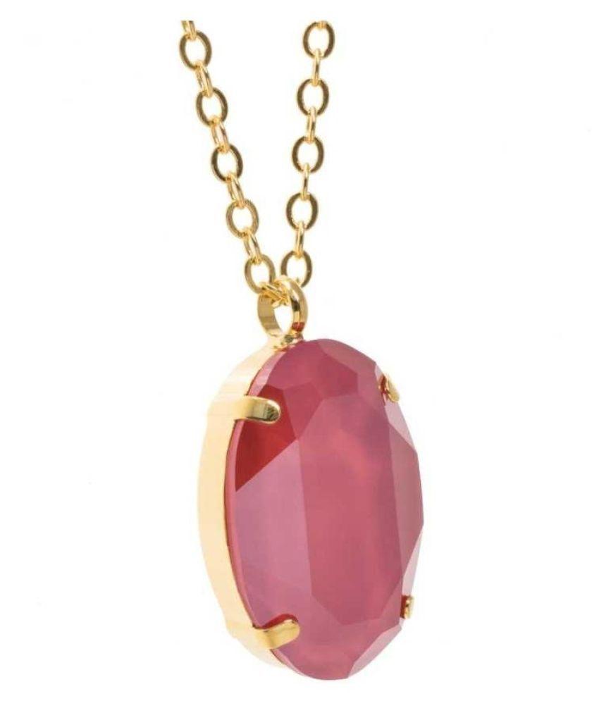Natural & Unheated Stone Pink Sapphire Stone 2.5 Ratti Gold Plated Pendant by Kundli Gems