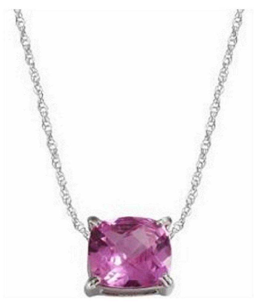 100% Natural 5 carat Pink Sapphire  silver Pendant by Kundli Gems\n