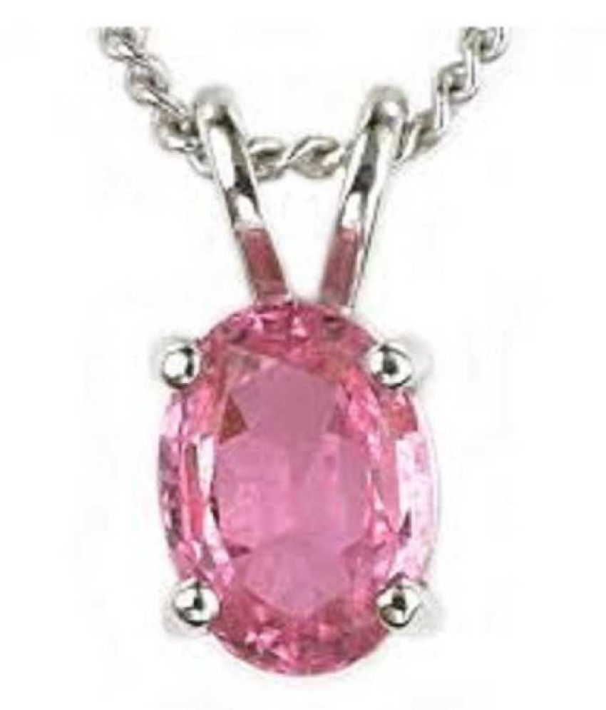 3.5 ratti stone pure Pink Sapphire  silver Pendant for unisex by Kundli Gems\n
