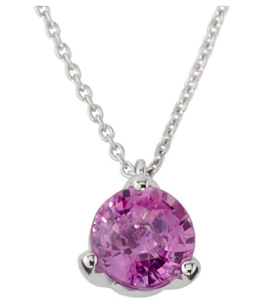 5.5 Carat Lab Certified  Silver Pink Sapphire   Pendantfor unisex by Kundli Gems