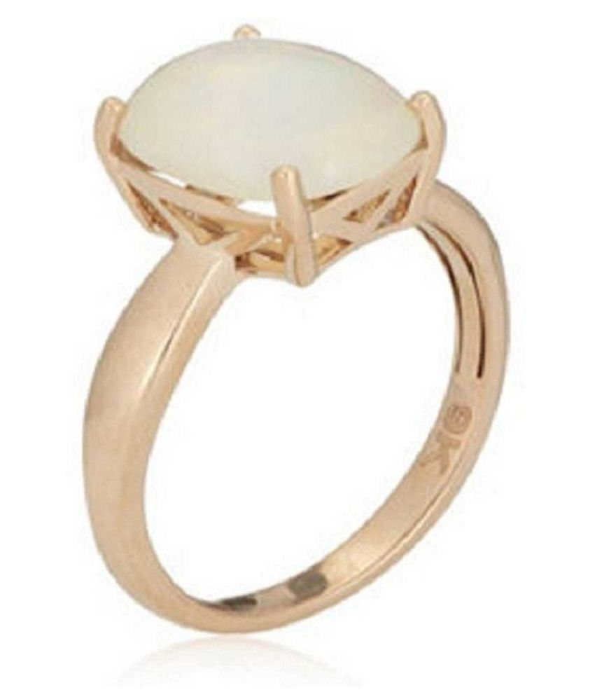 OPAL Ring with  Original 7.5 Ratti Lab Certified Stone Gold Plated Ring by Ratan Bazaar