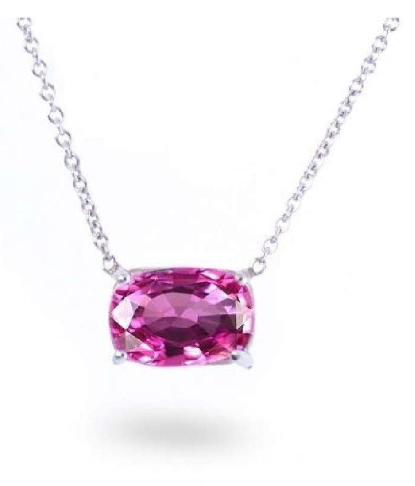 Silver Pink Sapphire  Stone Pendant 3.5 carat by  Kundli Gems