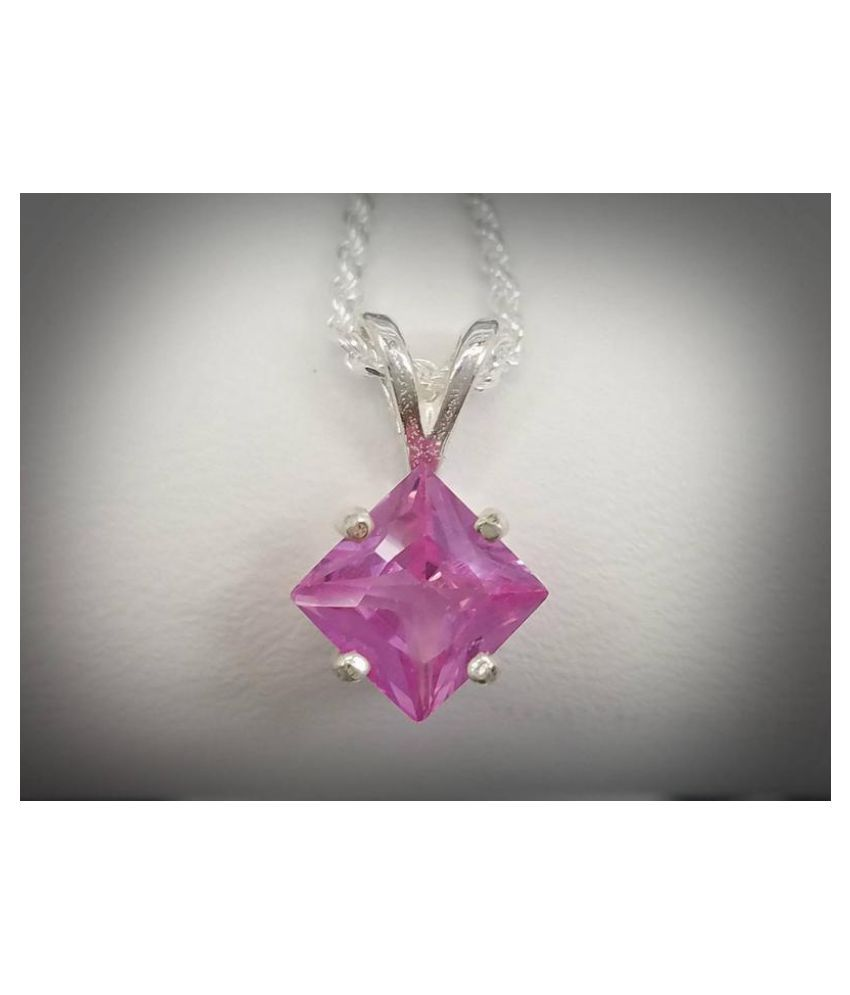 6.5 ratti  Pendant Natural Pink Sapphire  silver Pendant by Kundli Gems for unisex
