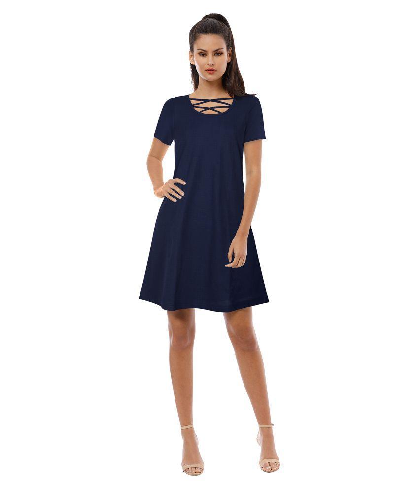 TRYZY Cotton Blue Regular Dress