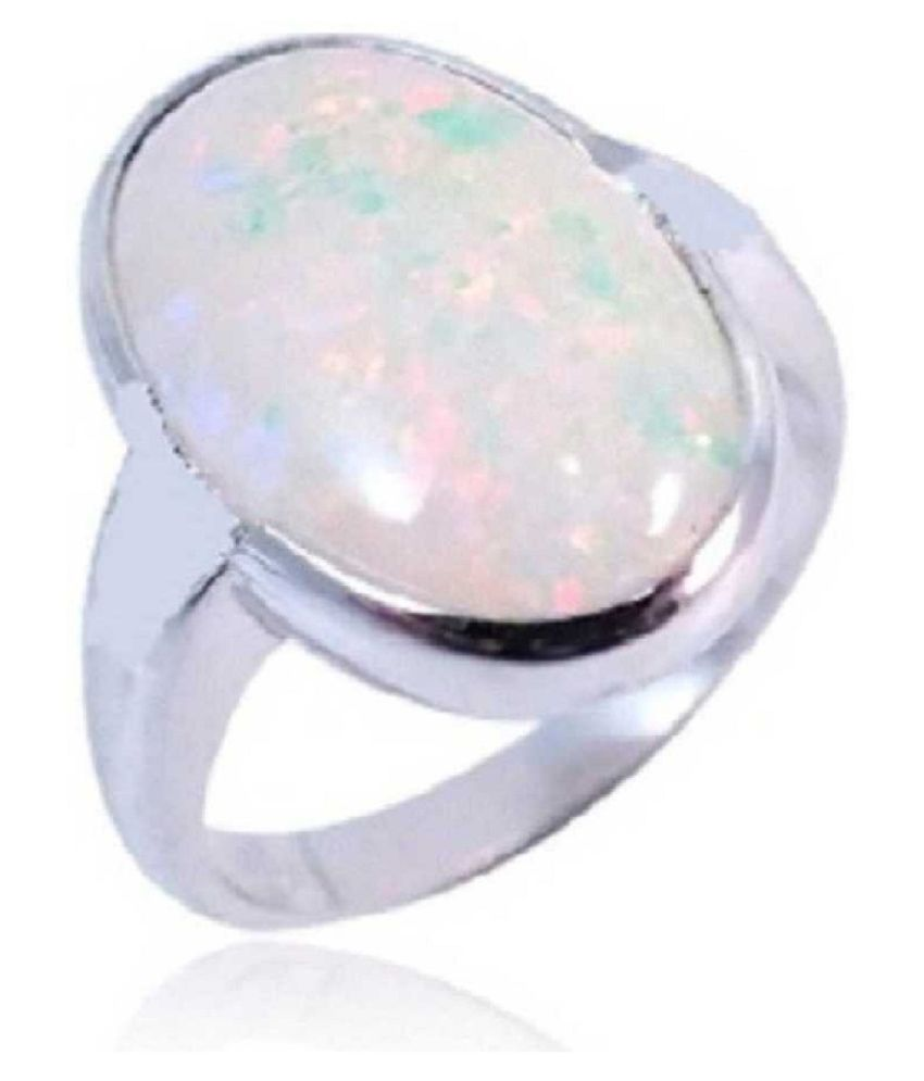 11.5 Ratti Lab Certified Stone  Original OPAL  silver Ring for unisex by Ratan Bazaar\n