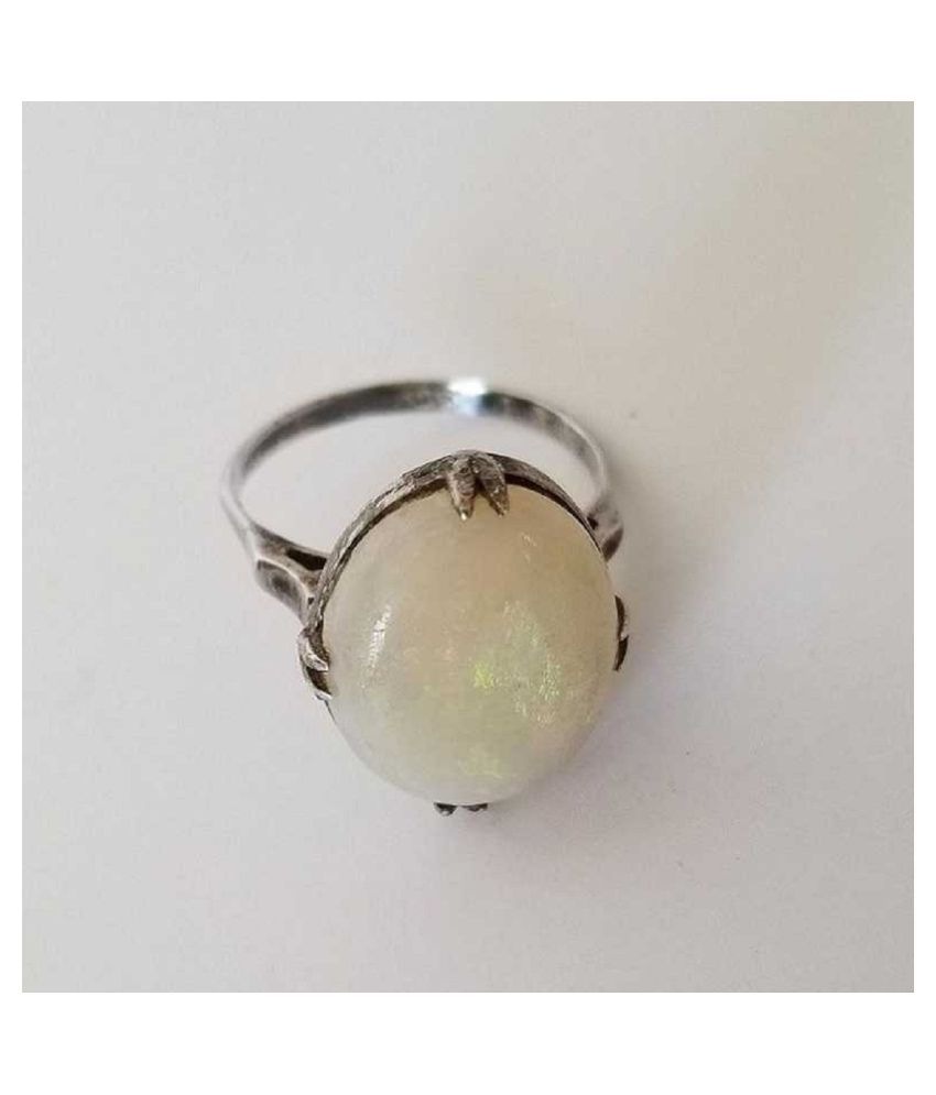 11.5 ratti Stone  Natural OPAL  silver Ring by Ratan Bazaar\n