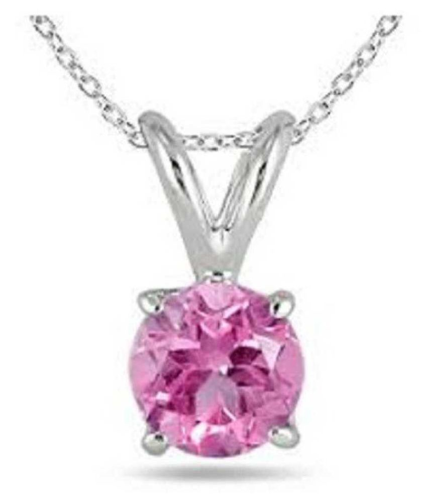7.5 ratti silver  Pink Sapphire  Pendant for unisex by Kundli Gems\n