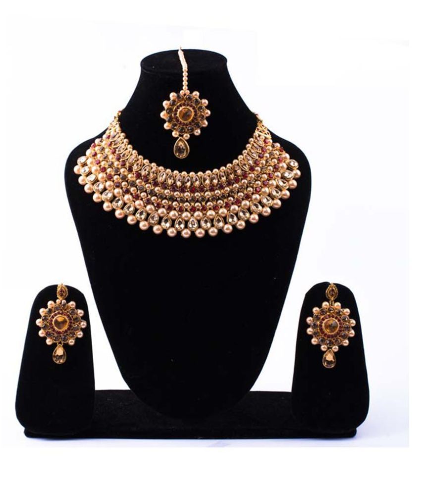Jaishree Jewels Alloy Golden Contemporary Designer Gold Plated Necklaces Set