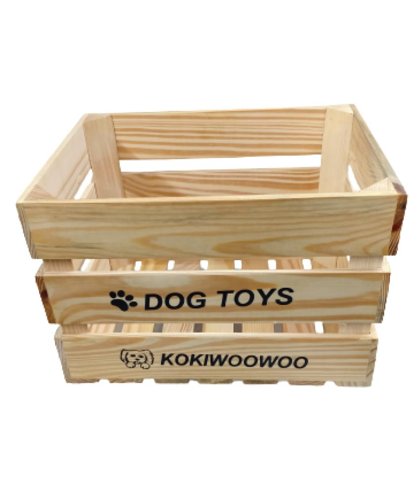 KOKIWOOWOO Wooden Dog Toy Basket Perfect for organizing Dog Toys, Accessories, Blankets, leashes and Food