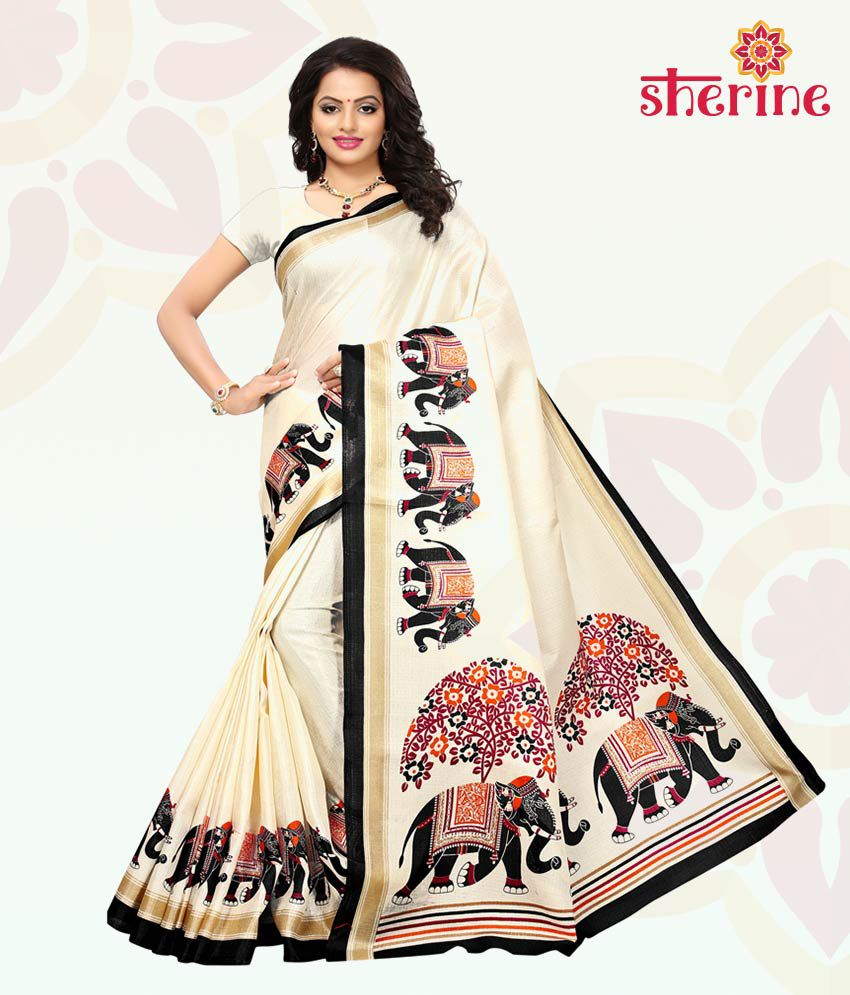 Sherine Beige, Black Printed Saree with Blouse Piece