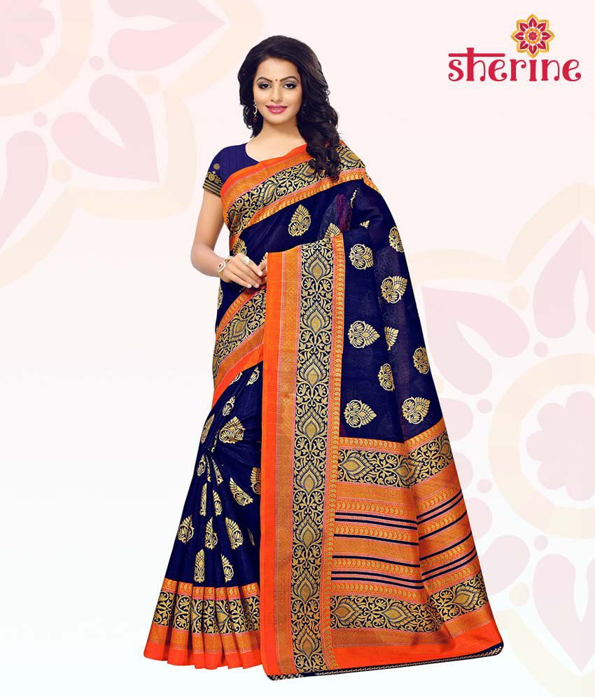 Sherine Blue Printed Saree with Blouse Piece