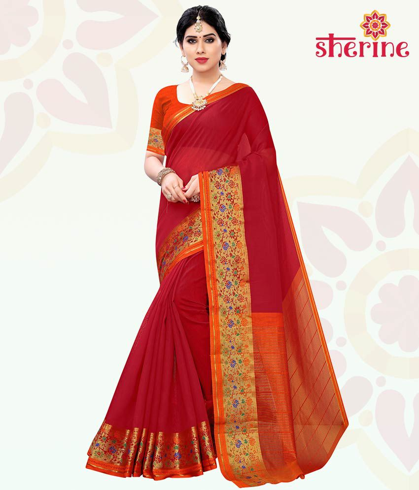 Sherine Red Saree with Blouse Piece (Fabric- Poly Cotton)