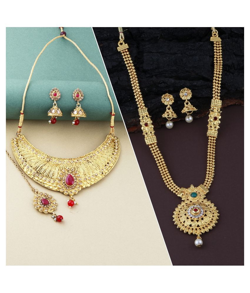 ShreejiHuf Alloy Golden Contemporary Traditional Gold Plated Necklace set Combo