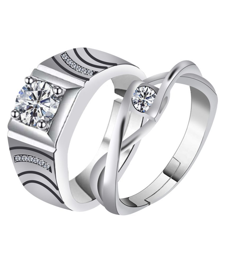 silver plated simple single lovely crystal diamond adjustable couple ring for men and women.