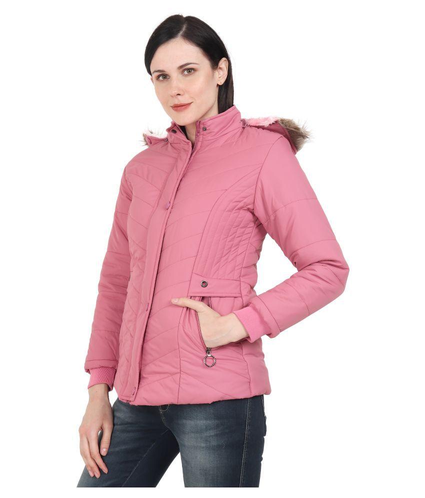 xohy Nylon Pink Hooded Jackets
