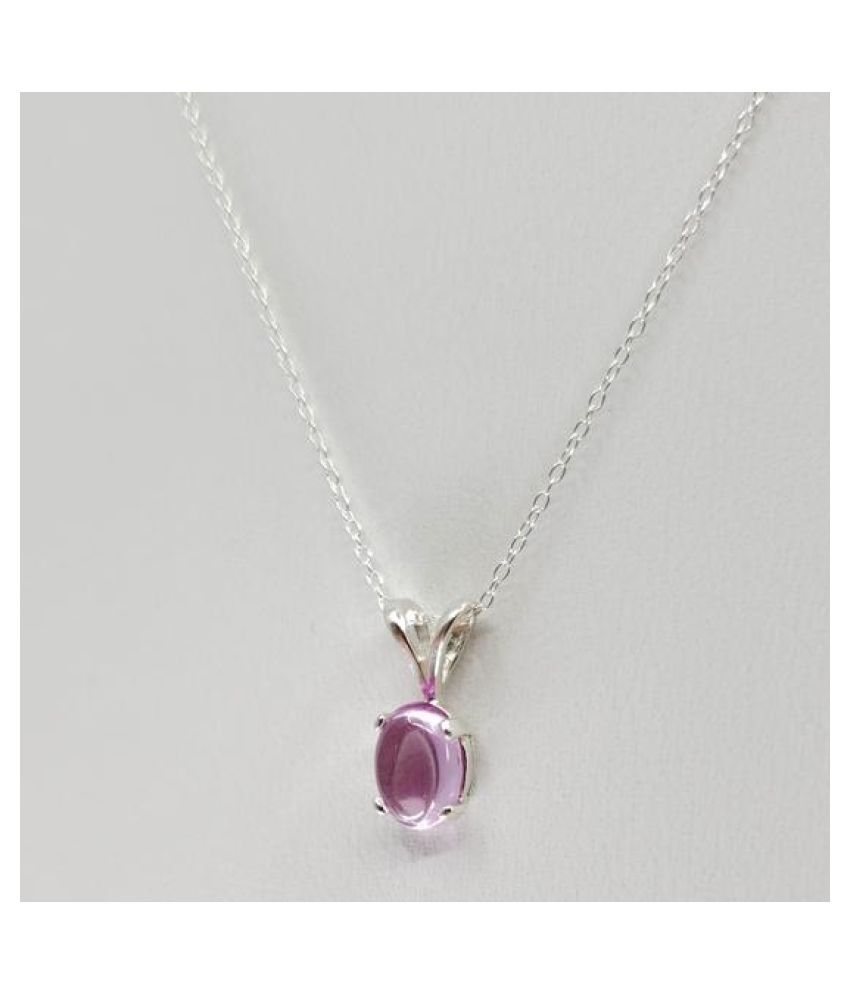 11 Ratti Pink Sapphire  Pendant with Natural silver Pink Sapphire  Stone by Kundli Gems