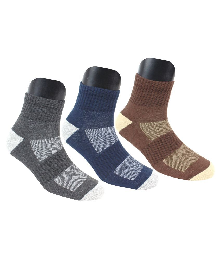 Neska Moda Men #039;s 3 Pair Checkered Cotton Ankle Length Socks  Dark Blue,Grey,Brown
