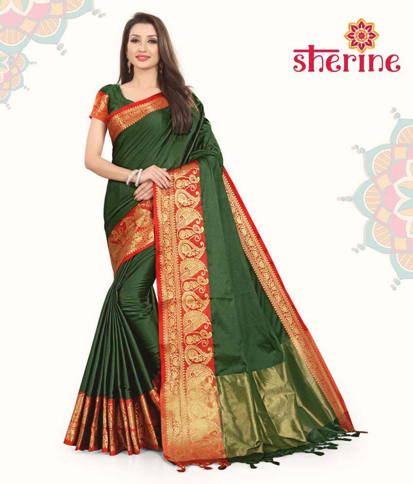 Sherine Green Jacquard Border Saree